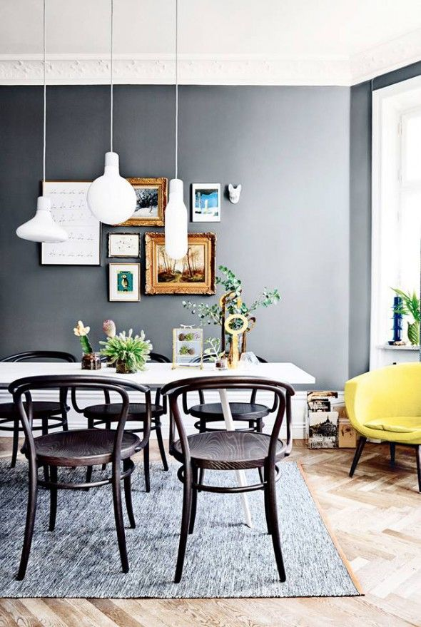 Dark grey living room - via Coco Lapine Design - Love the crown moulding