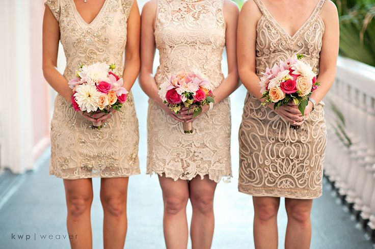 tan bridesmaids dresses possibly with turquoise accessories