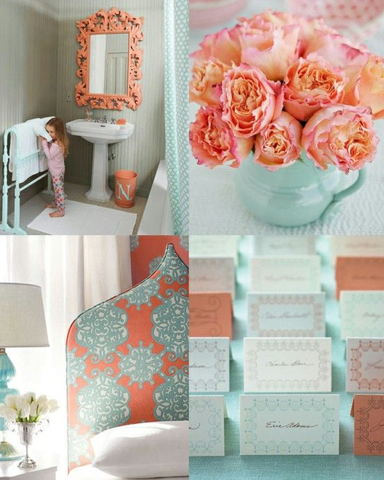 Coral and Turquoise--pretty, pretty color comboColors Combos, Coral, Color Schemes, Color Combos, Tiffany Blue, Colors Combinations, Colors Schemes, Wedding Colors, Room