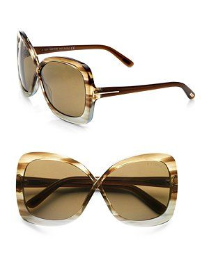 Tom Ford Eyewear Calgary Acetate Butterfly Sunglasses/Striped Brown