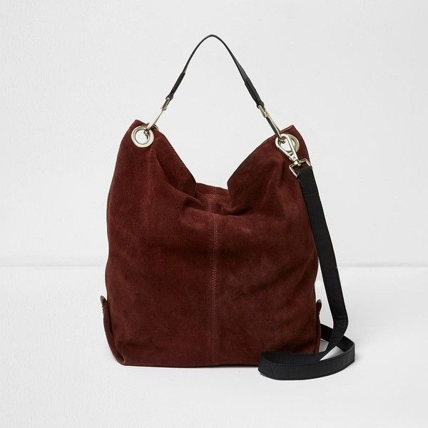 River Island Dark red suede slouch bag (£99) ❤ liked on Polyvore featuring bags, handbags, bags / purses, red, shopper & tote bags, women, handbag purse, red hand bags, red handbags and dark red handbag