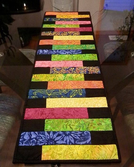 Batik quilted table runner in tropical colors by creativequiltsetc