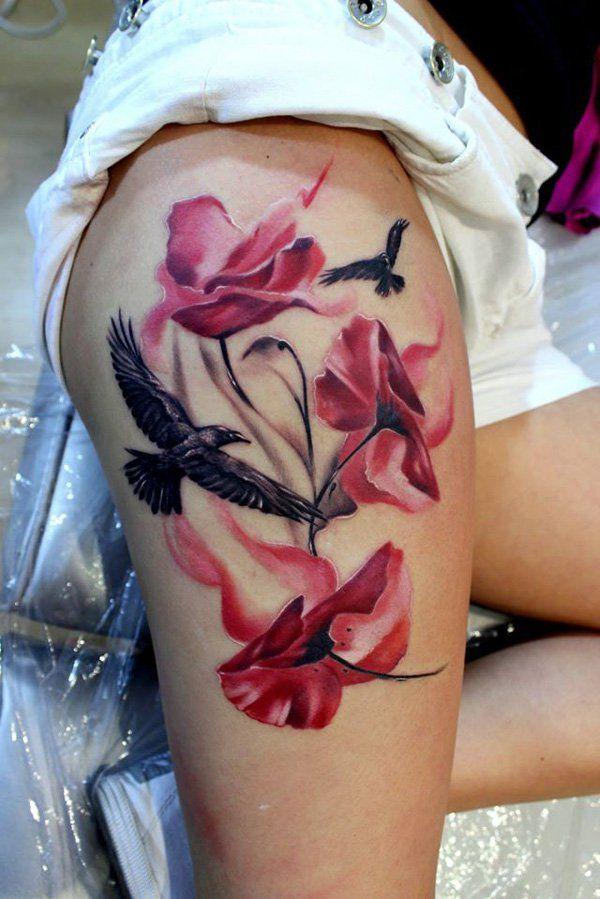 Poppies and Bird Tattoo - 60 Beautiful Poppy Tattoos  <3 <3