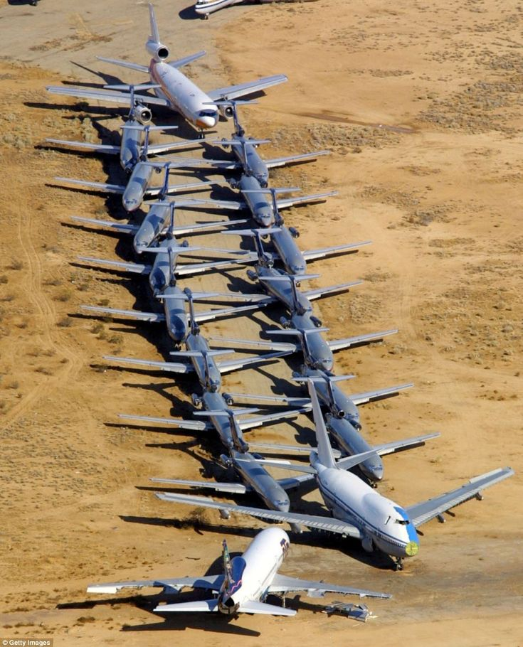 Major aircraft carriers in the U.S store dozens of passenger planes at the 5,000-acre former Air Force base in Victorville, California. The planes are mix of retired planes and planes that have been temporarily discontinued due to budget constraints. The airport was used in films such as The Sum of All Fears (2002) and Jarhead (2003).