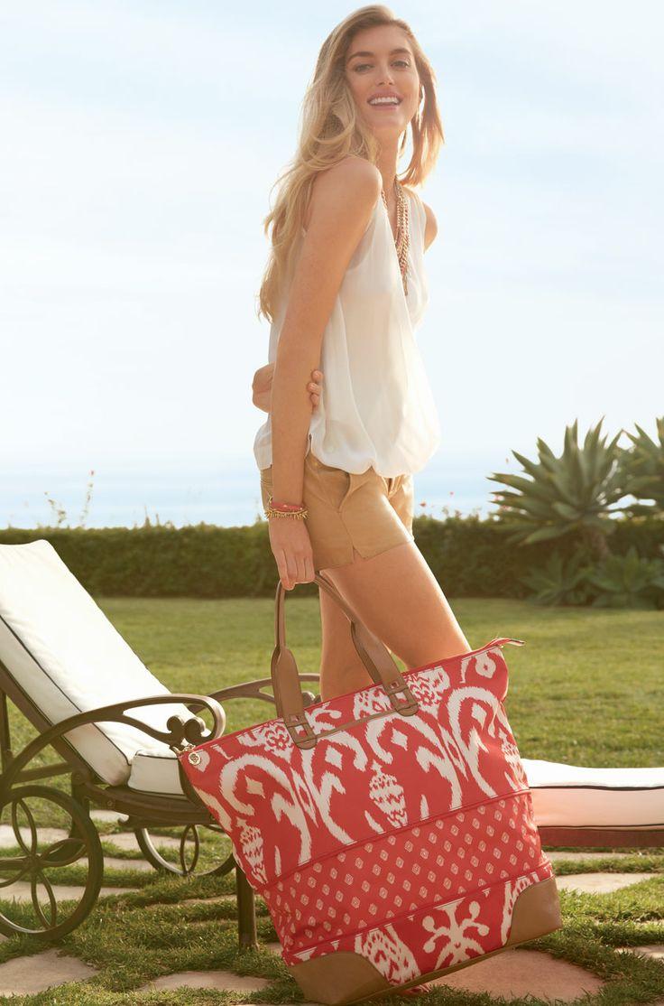 Red Ikat Expandable Weekender Bag & Overnight Bag   Getaway Tote   Stella & Dot