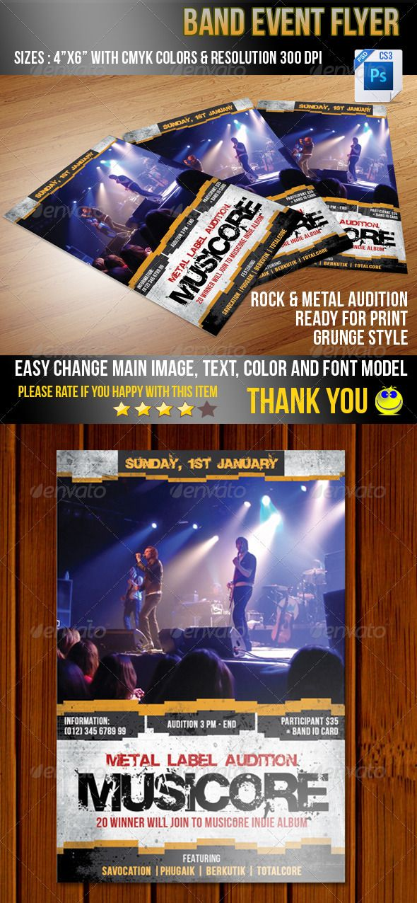 """Band Event  #GraphicRiver         Band Event flyer designed for Rock, metal or alternative Band Audition. PSD file   easy to customize with grouped layer. - Size: 4""""×6"""" - Resolution: 300dpi - Color Mode : CMYK - Easy to modify, change colors, texts, Main Image and Background Picture - Ready for Print with safe area Font using Bebas Neue –  .dafont /bebas-neue.font Base 02 –  .dafont /base-02.font For any help regarding this file, please feel free to contact me. Please rate this item, i 'll…"""