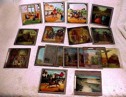 Grouping of 17 Pictorial 3-1/4 Magic Lantern Slides from