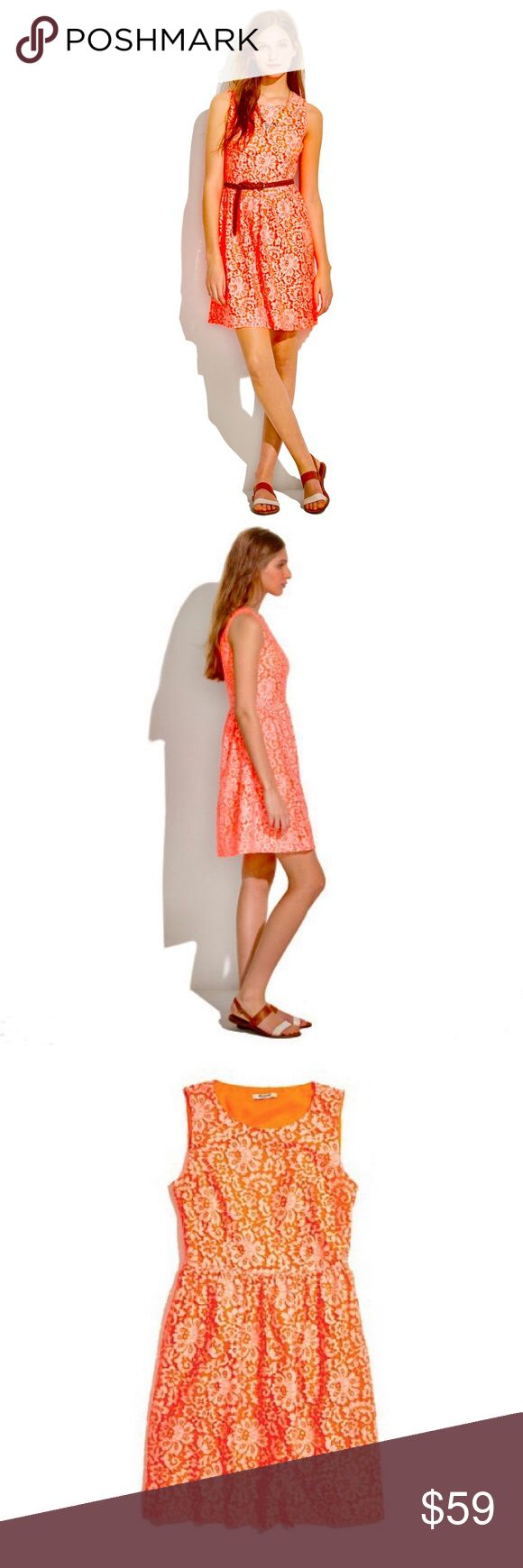 "NWOT Madewell neon orange pink lace blossom dress New without tags. Never worn. Bright, vibrant pinky orange hue. Nearly fluorescent without being overwhelming. A super-flattering silhouette with a feminine full skirt blooms in lace. Fitted at waist. Falls 35 1/2"" from shoulder. Nylon/cotton. Dry clean. Madewell Dresses"