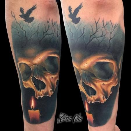 Evan Olin - Full color realistic skull and candle tattoo