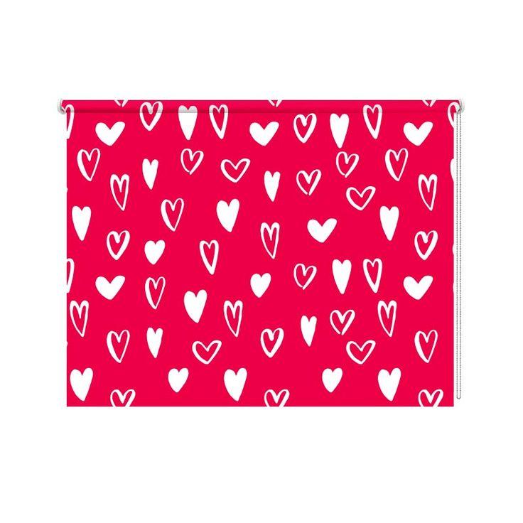 Rolgordijn Hartjes patroon | De rolgordijnen van YouPri zijn iets heel bijzonders! Maak keuze uit een verduisterend of een lichtdoorlatend rolgordijn. Inclusief ophangmechanisme voor wand of plafond! #rolgordijn #gordijn #lichtdoorlatend #verduisterend #goedkoop #voordelig #polyester #hartjes #harten #roze #rood #meisjes #tieners #patroon