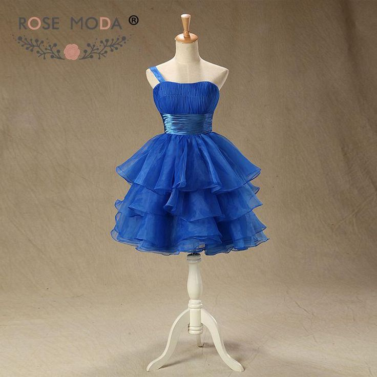 Rose Moda Royal Blue Prom Dress One Shoulder Short Prom Dresses Ball Gown Xmas Party Dress 2018