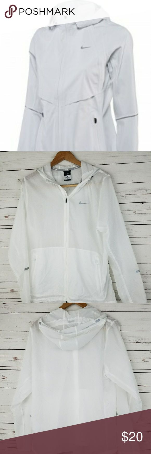 "Nike Running Jacket Gently Pre-loved . Very good condition no holes, tears, rips, or stains.  Measurements: Underarm to underarm - 21"" Length- 29.5"" No Trades- Smoke free home. Bundles are accepted for big discount leave a comment below. Make us an offer.  Fast Shipping- Will ship same day or next day depending on the time item was purchased.  Thank you for visiting our closet hope to see you again soon Nike Jackets & Coats"