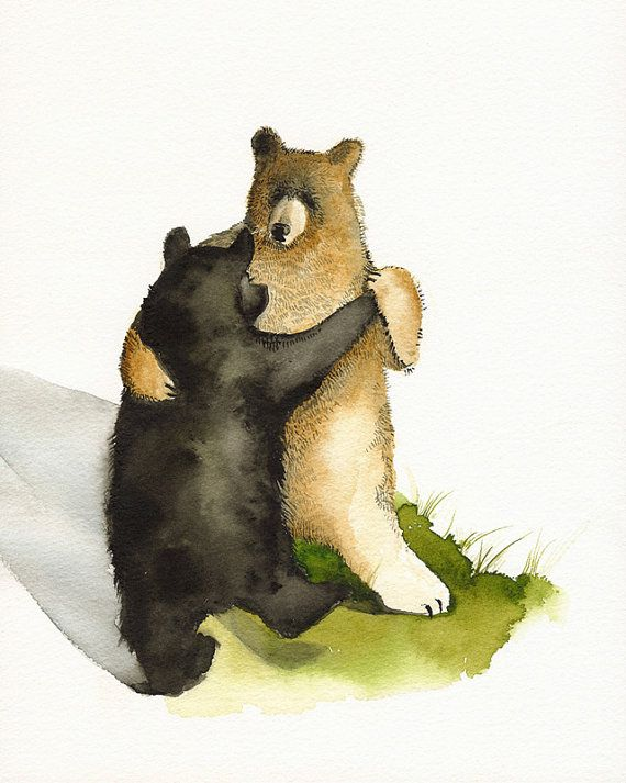 watercolor painting- Waltz - Dancing Bears- animal painting
