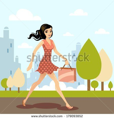Happy shopping girl with bag at town