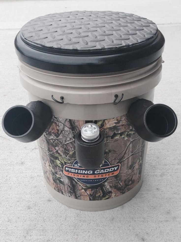 Fishing Caddy bucket combines a seat, tackle-box, and pole holder - Fishing bucket