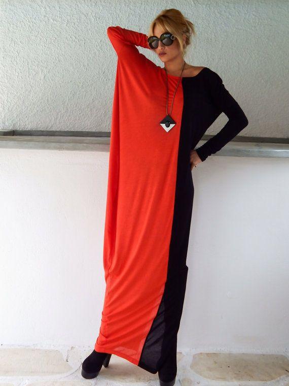 Black & Red Long Sleeve Maxi Dress / Black Red Kaftan / Asymmetric Plus Size Dress / Oversize Loose Dress / #35057