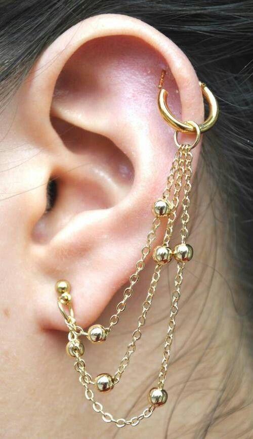 Pretty earring chain(: | Pierced | Pinterest | Ear ...