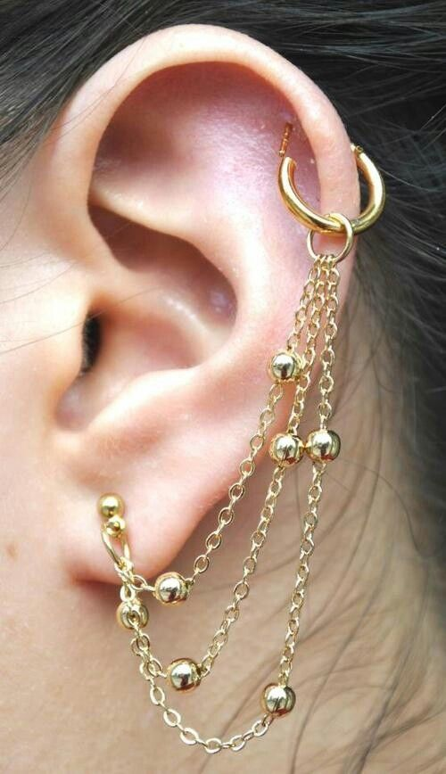 Pretty earring chain(: | Pierced | Pinterest | Ear ...