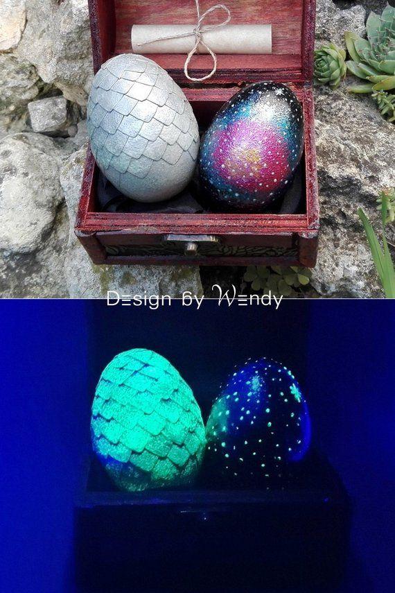 Galaxy Protector Dragon Eggs, Silver Dragon Egg with Galaxy Egg, Geek Decor, Gift for Boyfriend, Gee