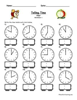 Write the time shown on the clock. 5 Different Worksheets plus answer key....