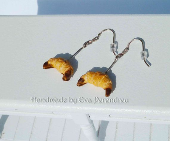 Earrings miniature croissants with chocolate silver by Evamini, $15.50