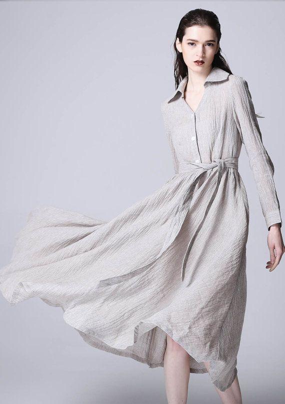 gray dress maxi dress linen dress shirt dress long sleeve