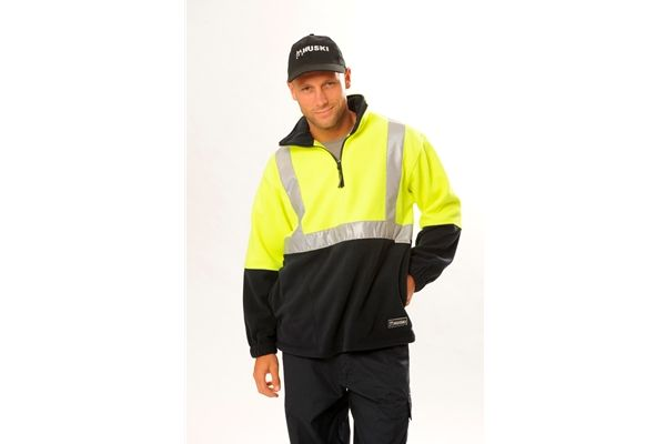 Huski Pullover Polar Fleece Zip Jumper 3M reflective Tape Workwear Yellow New