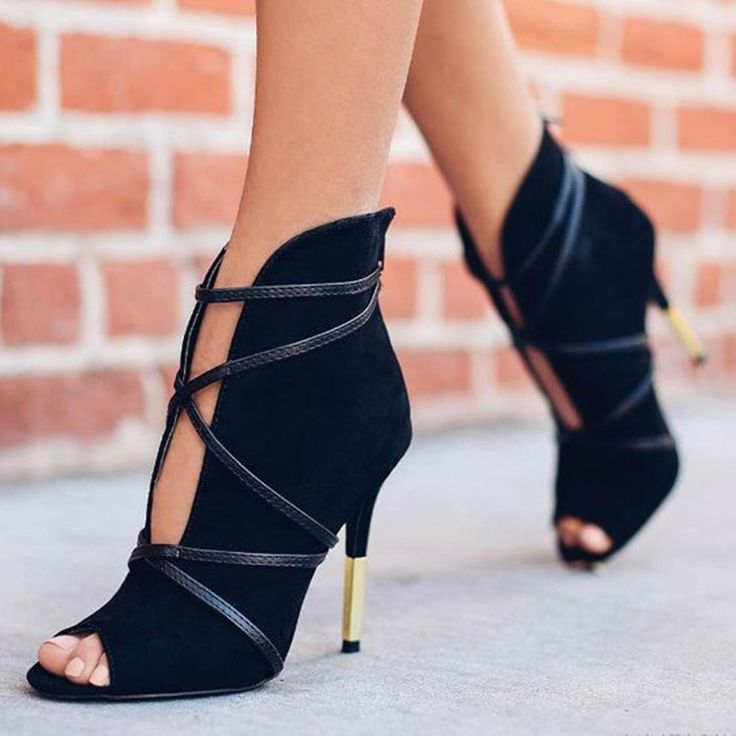 Shoespie Black Half Metal Heel Sandal Ankle Booties