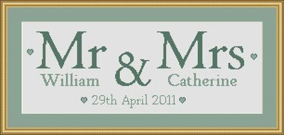 Personalised Wedding Sampler - any names, any colours. Love these from Holly's Hobbies!