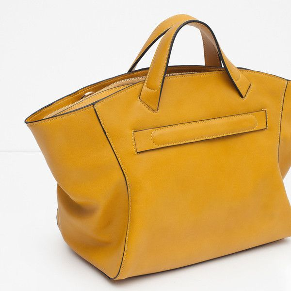 Zara Zipped Tote Bag ($50) ❤ liked on Polyvore featuring bags, handbags, tote bags, yellow tote, zipper handbag, zip tote, zippered tote and yellow tote bag