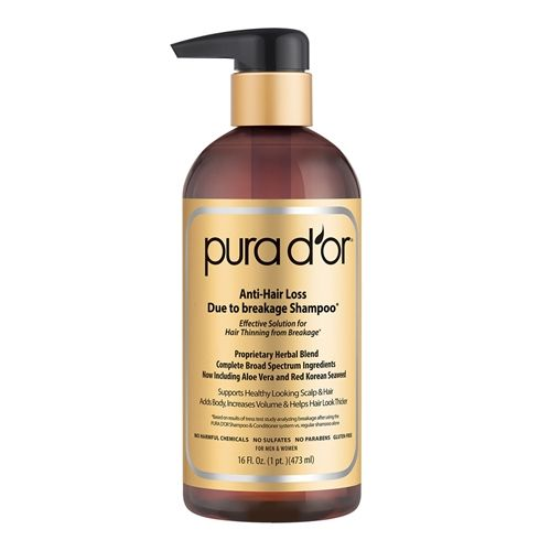 "Huge number of ingredients (including 15 DHT blockers) and a huge number of 5 star reviews. Over at Amazon, Pura d'or shampoo is a ""Best Seller"" - there were plenty of 5 star reviews but plenty of 1 stars too. Some Amazon reviewers also said it's expensive (you're supposed to use it every day for 3 months). Claims to have clinical studies, but no information given. So, one to try, or one to avoid?"