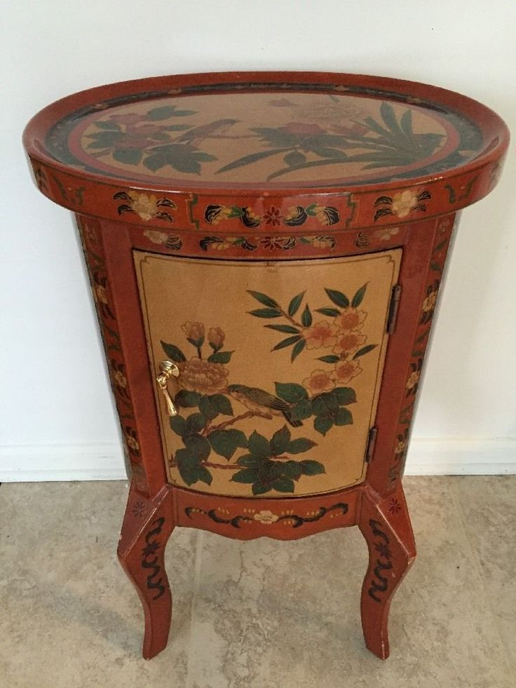 Oriental lacquer end table cabinet chinese hand painted for Hand painted oriental furniture