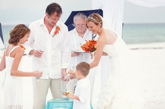 Family Sand Ceremony - Henderson Beach State Park - vow renewal beach wedding ceremony- photo by Avant Images - Vera Wang gown - flowers by Celestines - Planning by Serendipity Designs  - www.serendipity-designs.com