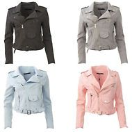 New Womens Faux Suede Belted Zipped Crop Ladies Biker Jacket