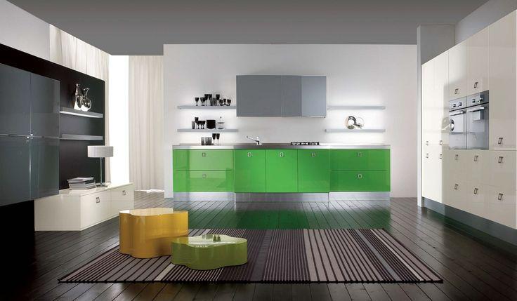 Cucinesse: #cucina moderna MIKA - Colore in cucina. #arredamento #design #interiordesign #creativa #dinamica #funzionale #personalità #colore #verde