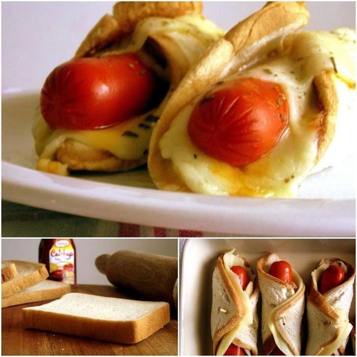 Ingredientes  500g de salsicha (aproximadamente 10 unidades) Pão de fôrma Queijo mussarela fatiado Catchup à gosto Azeite e orégano    Modo de Preparo  Passe o rolo