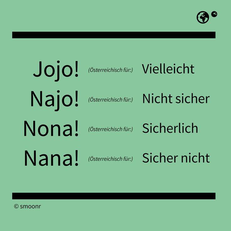 """""""Jojo!"""" - Österreichisch für: Vielleicht """"Najo!"""" - Österreichisch für: Nicht sicher """"Nona!"""" - Österreichisch für: Sicherlich """"Nana!"""" - Österreichisch für: Sicher nicht"""