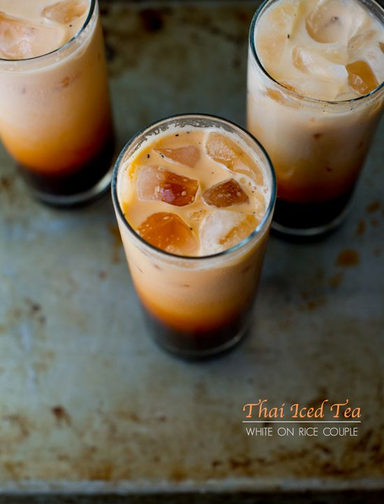 Thai (Iced) Tea. It has a beautiful, astounding orange color & is very much like sweet tea (aka super sweet if made the authentic Thai way). Very easy to make at home (tea leaves, sweetener, & water). Recipe linked.