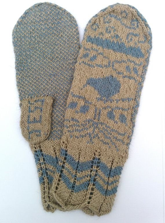 Handmade knitted mittens with original, customisable New Zealand inspired design by RoamingWool