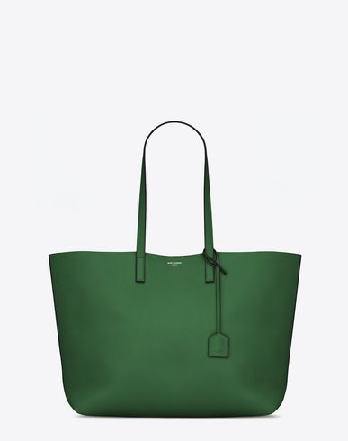 SAINT LAURENT LARGE SHOPPING SAINT LAURENT TOTE BAG IN CLOVER GREEN AND BLACK LEATHER | YSL.COM