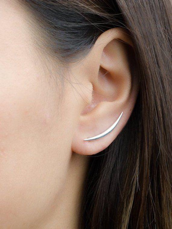 Crescent Moon Ear Climber- Moon Earrings- Half Moon Earrings- Minimalist Earrings- Simple Ear Climber- Cuff Earrings- ECF019
