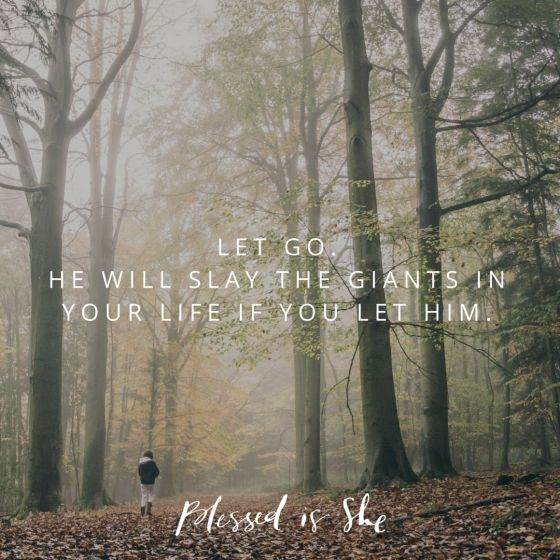 Find ways to let go of the battles you are fighting alone and invite God into them. He will slay the giant if you let him. || Daily Devotion for Women | Christian | Catholic | Inspiration