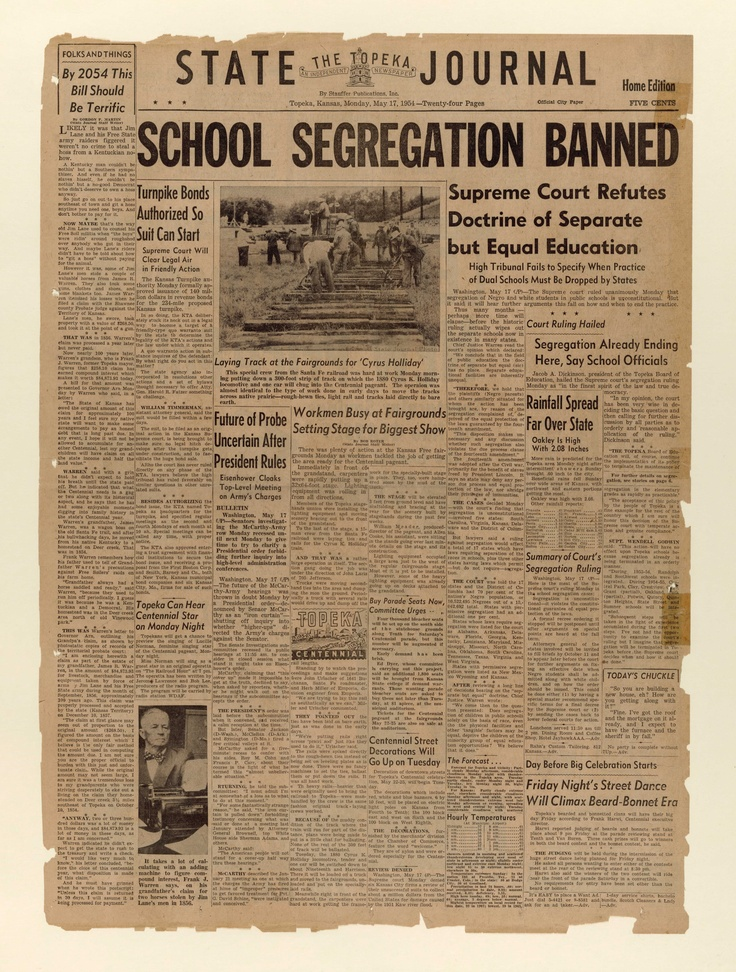 This day in News History: May 17, 1954: The U.S. Supreme Court ruled in Brown v. Board of Education that racially segregated public schools were inherently unequal.