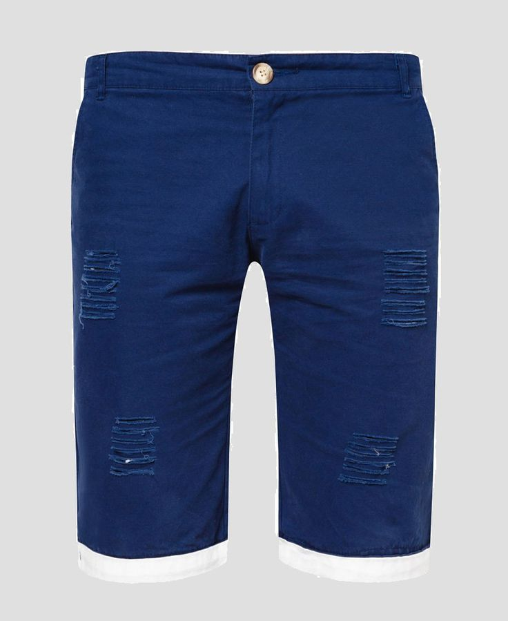 Ripped Chino Short a collection by 24:01, chino that made of cotton with navy color, front and back pockets, this short chino features a belt loop and a distressed details, a cool pants to hangout with, pair this with a t-shirt and a slip on for a perfect casual style.    http://www.zocko.com/z/JH0OK