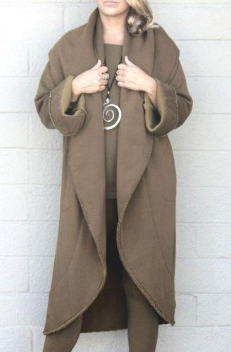 BRYN WALKER Bamboo Cotton Fleece WRAP COAT Long Jacket XL (XL/1X) LENTIL