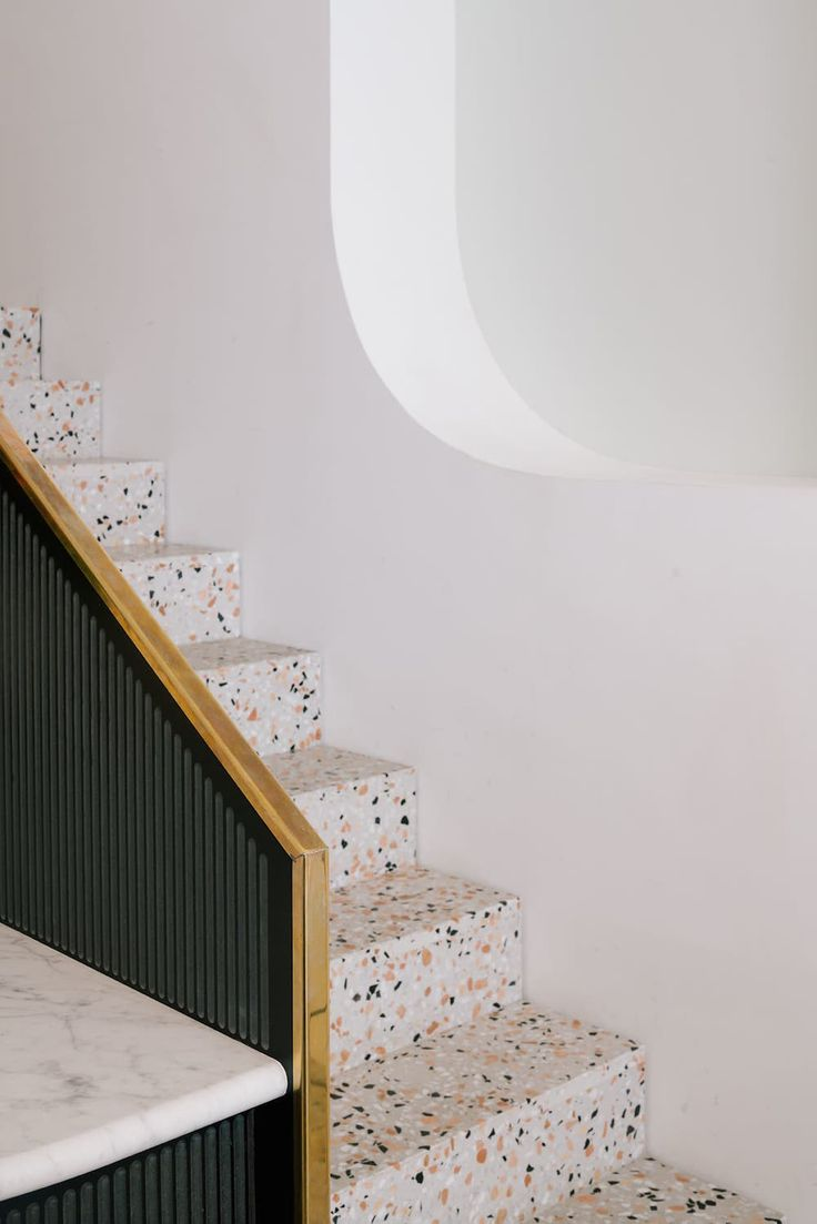 2018 has been a great year for terrazzo! Though we've always known terrazzo was an obvious choice for commercial and residential spaces alike, the interior design community has especially honed in on terrazzo in the past year. Wall Design, House Design, Terrazo, Concrete Stairs, Terrazzo Flooring, Interior Decorating, Interior Design, Dark Interiors, Concrete Countertops