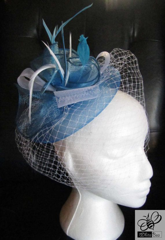 Blue and white fascinator with white netting Irene by WhiteBea