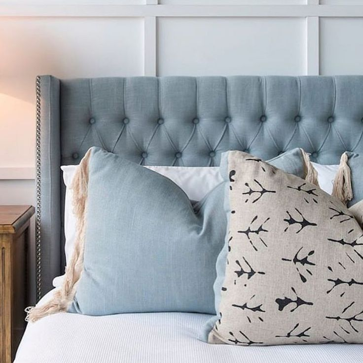 { M A R G A U X } The French blue in this @mayvn_interiors Margaux Headboard is the perfect tone to set a peaceful bedroom colour scheme. The hand tufted diamond buttoning combined with chrome nailhead down the face of the wing trims it beautifully. Available instore @theclassicoutfitter