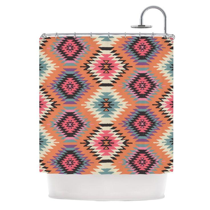 "Amanda Lane ""Southwestern Dreams"" Orange Pink Shower Curtain"