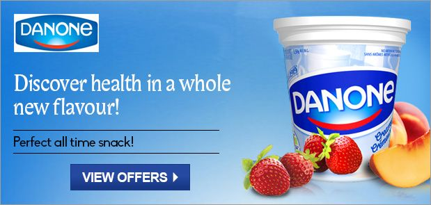 At mydala grocery offers section you will find offers on Danone products.